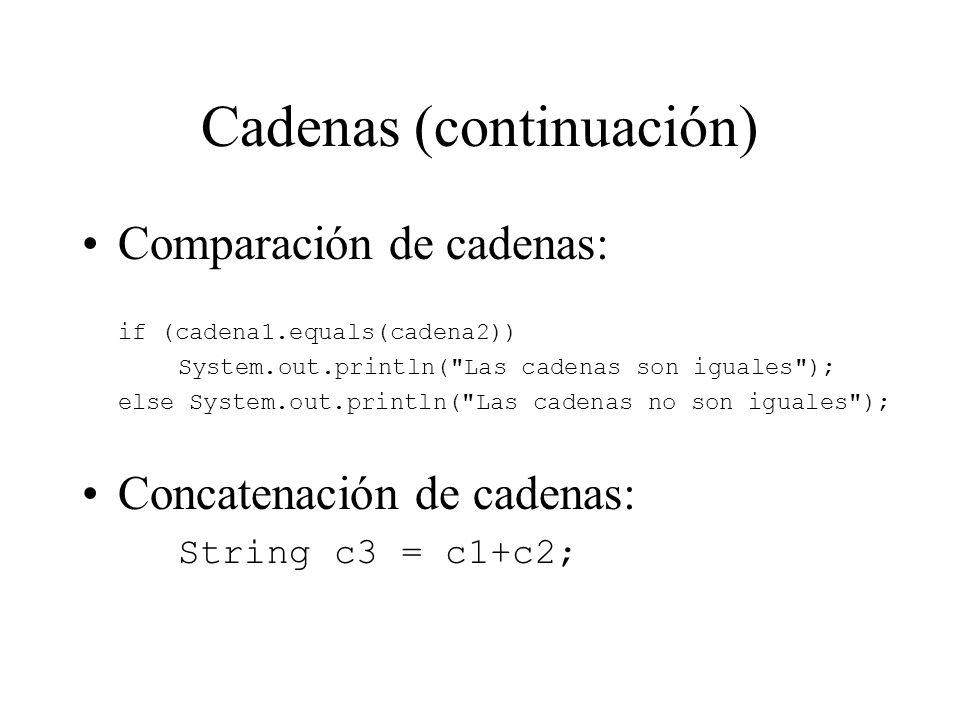 Cadenas (continuación) Comparación de cadenas: if (cadena1.equals(cadena2)) System.out.println(