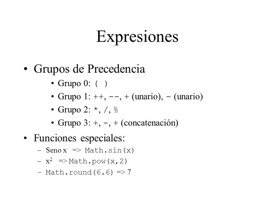 Expresiones Grupos de Precedencia Grupo 0: ( ) Grupo 1: ++, --, + (unario), - (unario) Grupo 2: *, /, % Grupo 3: +, -, + (concatenación) Funciones esp