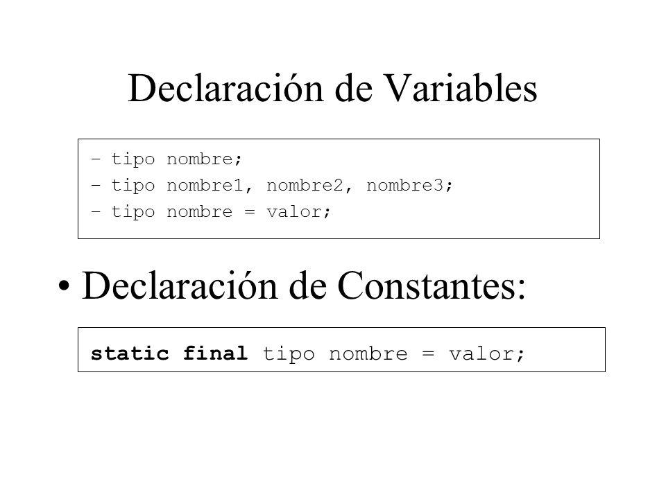 Declaración de Variables –tipo nombre; –tipo nombre1, nombre2, nombre3; –tipo nombre = valor; Declaración de Constantes: static final tipo nombre = va
