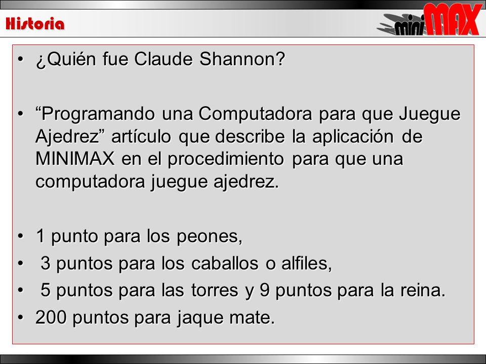 Historia ¿Quién fue Claude Shannon?¿Quién fue Claude Shannon? Programando una Computadora para que Juegue Ajedrez artículo que describe la aplicación