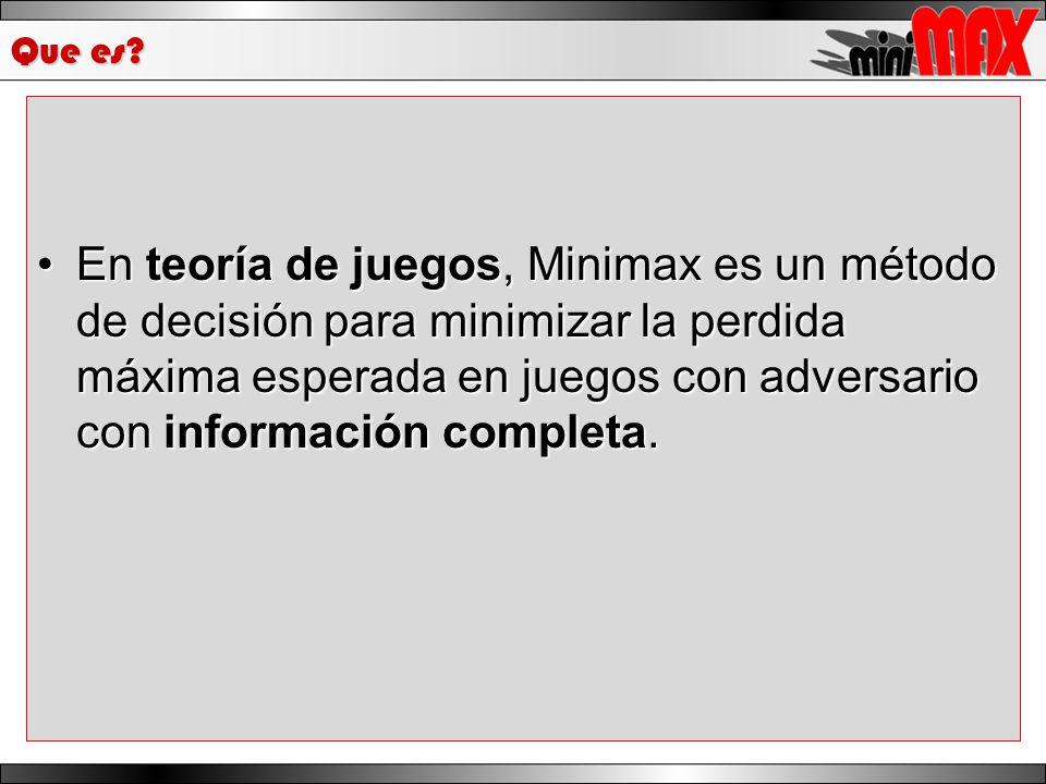 Que es? En teoría de juegos, Minimax es un método de decisión para minimizar la perdida máxima esperada en juegos con adversario con información compl