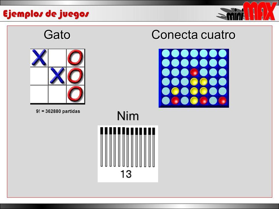 Ejemplos de juegos Gato Conecta cuatro 9! = 362880 partidasNim
