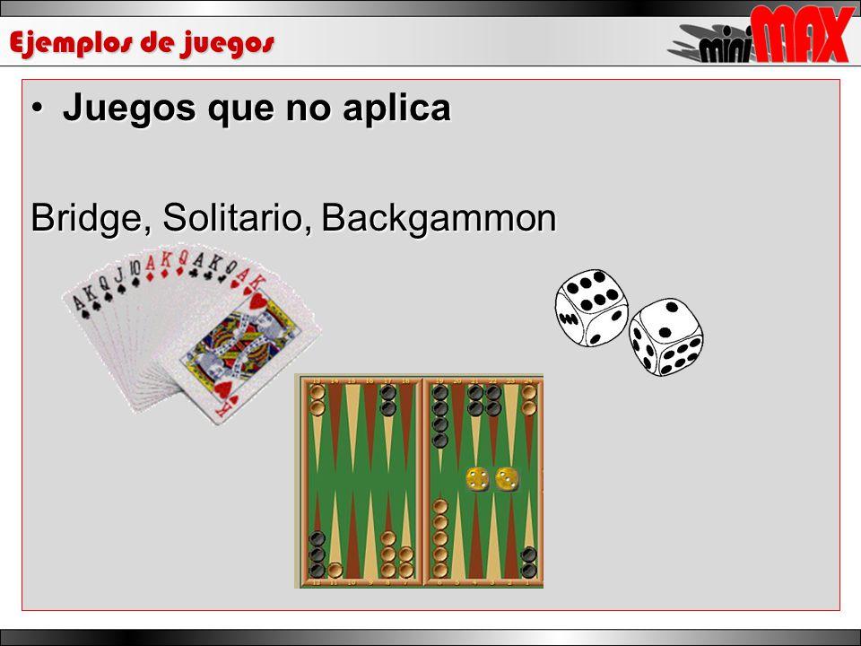 Ejemplos de juegos Juegos que no aplicaJuegos que no aplica Bridge, Solitario, Backgammon
