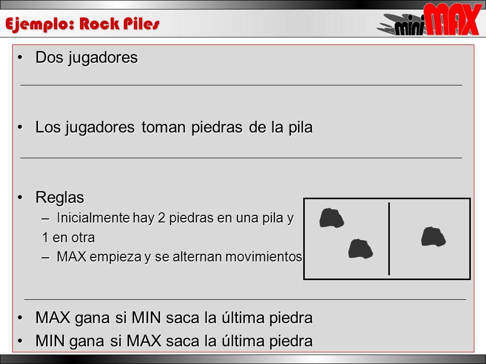 Ejemplo: Rock Piles Dos jugadoresDos jugadores Los jugadores toman piedras de la pilaLos jugadores toman piedras de la pila ReglasReglas –Inicialmente
