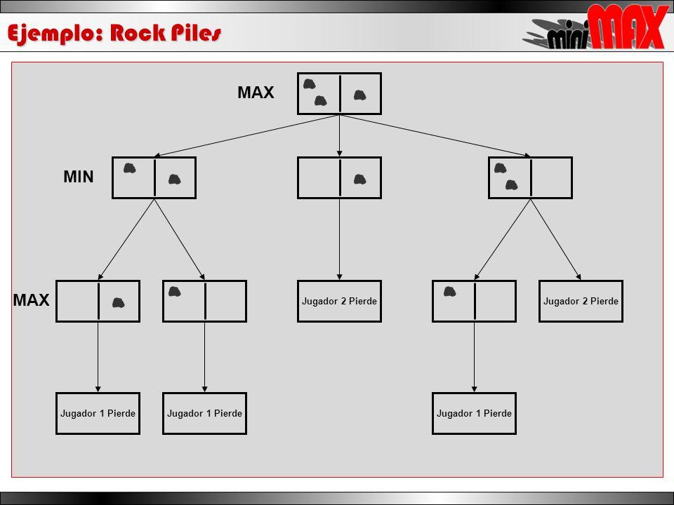 Ejemplo: Rock Piles Jugador 2 Pierde Jugador 1 Pierde MAX MIN MAX