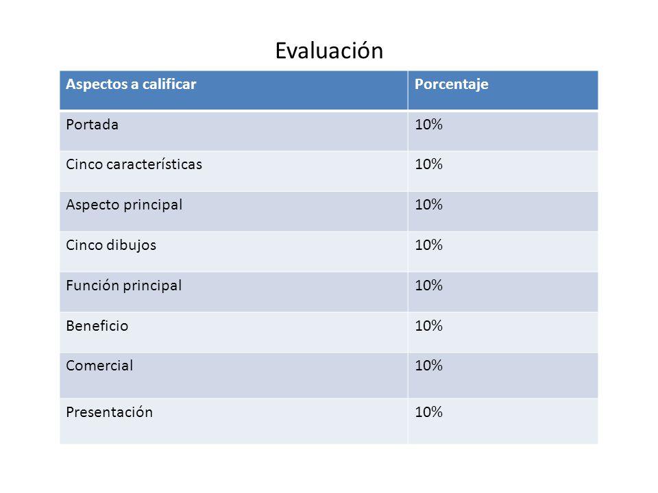 Evaluación Aspectos a calificarPorcentaje Portada10% Cinco características10% Aspecto principal10% Cinco dibujos10% Función principal10% Beneficio10% Comercial10% Presentación10%