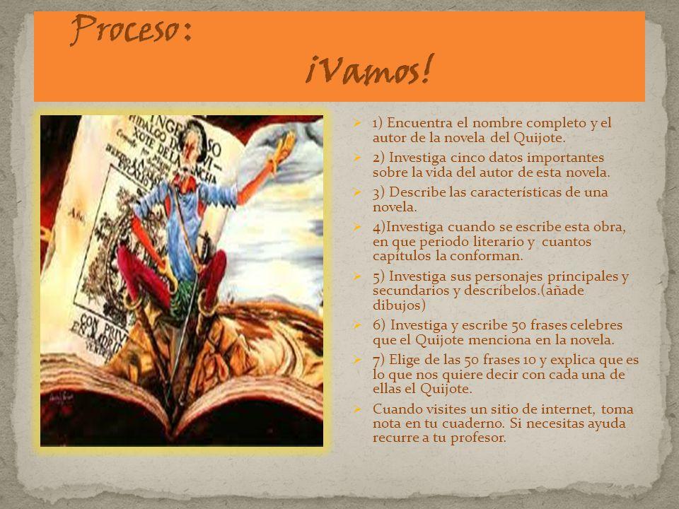 1) Encuentra el nombre completo y el autor de la novela del Quijote. 2) Investiga cinco datos importantes sobre la vida del autor de esta novela. 3) D