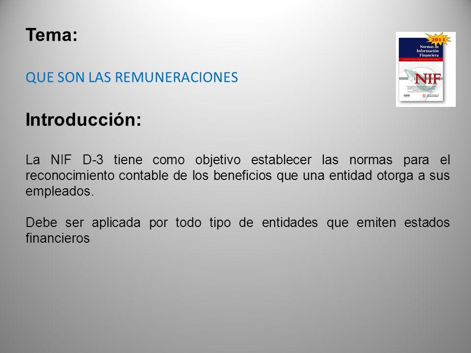 Tema: QUE SON LAS REMUNERACIONES Introducción: La NIF D-3 tiene como objetivo establecer las normas para el reconocimiento contable de los beneficios que una entidad otorga a sus empleados.