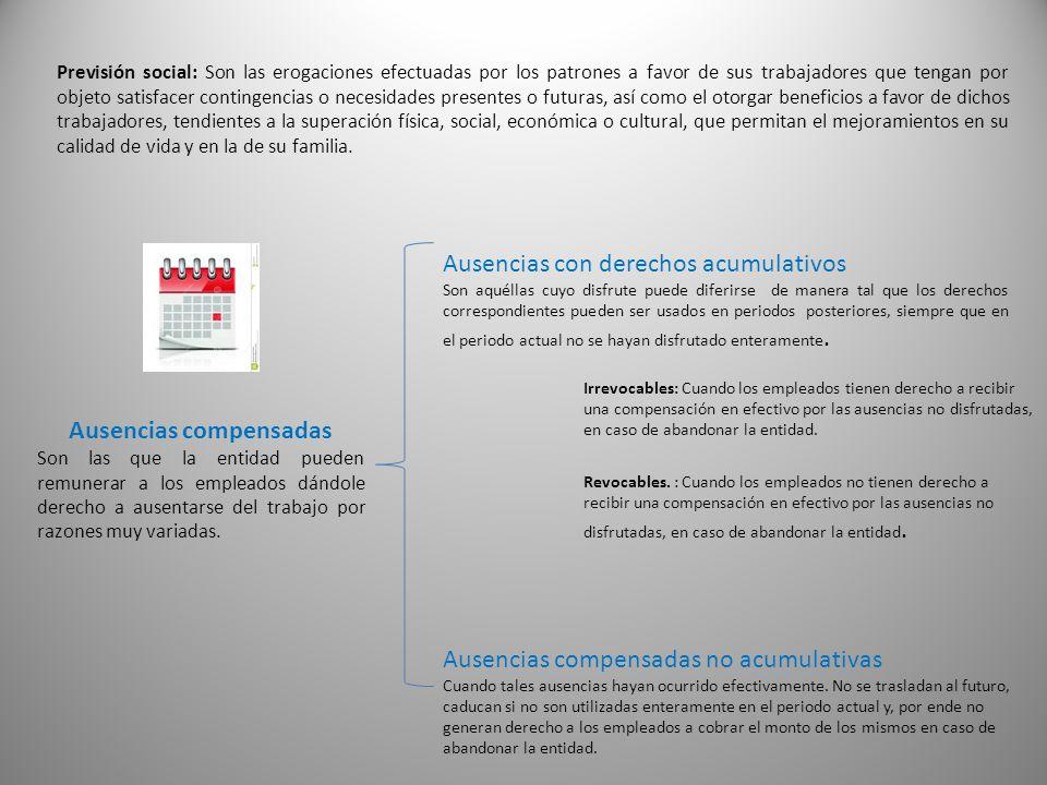 Previsión social: Son las erogaciones efectuadas por los patrones a favor de sus trabajadores que tengan por objeto satisfacer contingencias o necesid