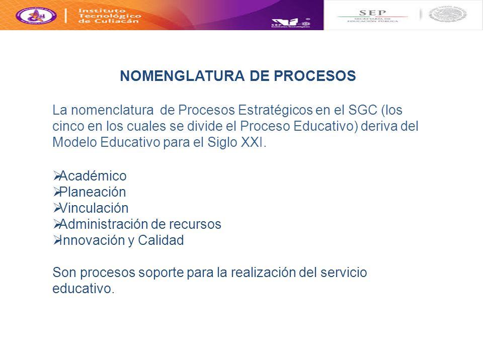La nomenclatura de Procesos Estratégicos en el SGC (los cinco en los cuales se divide el Proceso Educativo) deriva del Modelo Educativo para el Siglo