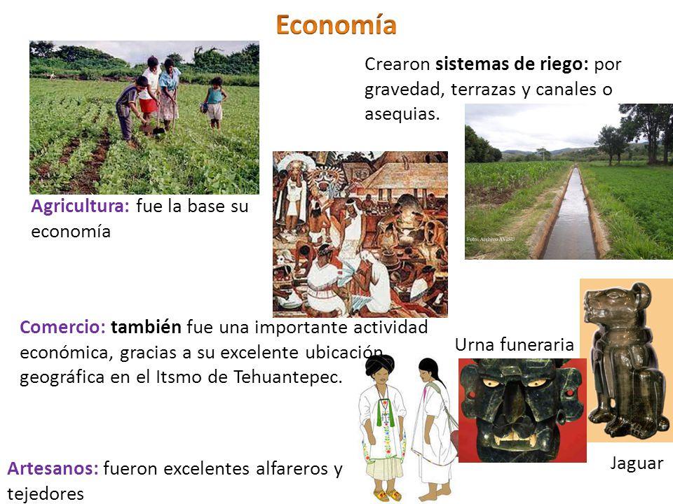 Agricultura: fue la base su economía Crearon sistemas de riego: por gravedad, terrazas y canales o asequias. Comercio: también fue una importante acti