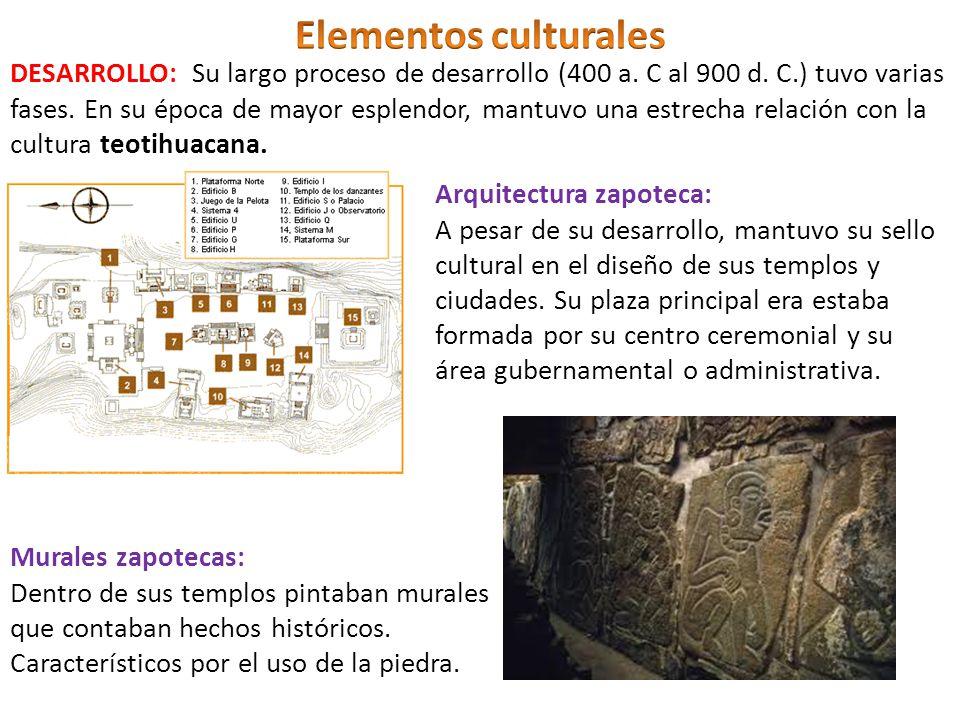 Arquitectura zapoteca: A pesar de su desarrollo, mantuvo su sello cultural en el diseño de sus templos y ciudades. Su plaza principal era estaba forma