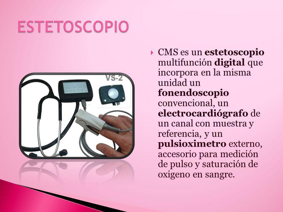 CMS es un estetoscopio multifunción digital que incorpora en la misma unidad un fonendoscopio convencional, un electrocardiógrafo de un canal con muestra y referencia, y un pulsioximetro externo, accesorio para medición de pulso y saturación de oxigeno en sangre.