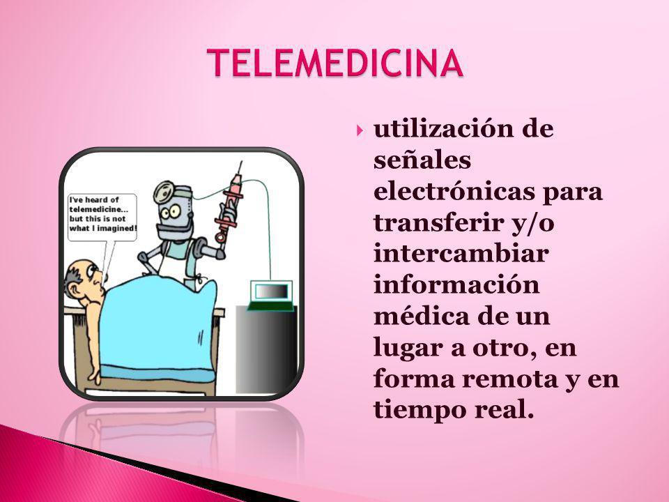 utilización de señales electrónicas para transferir y/o intercambiar información médica de un lugar a otro, en forma remota y en tiempo real.