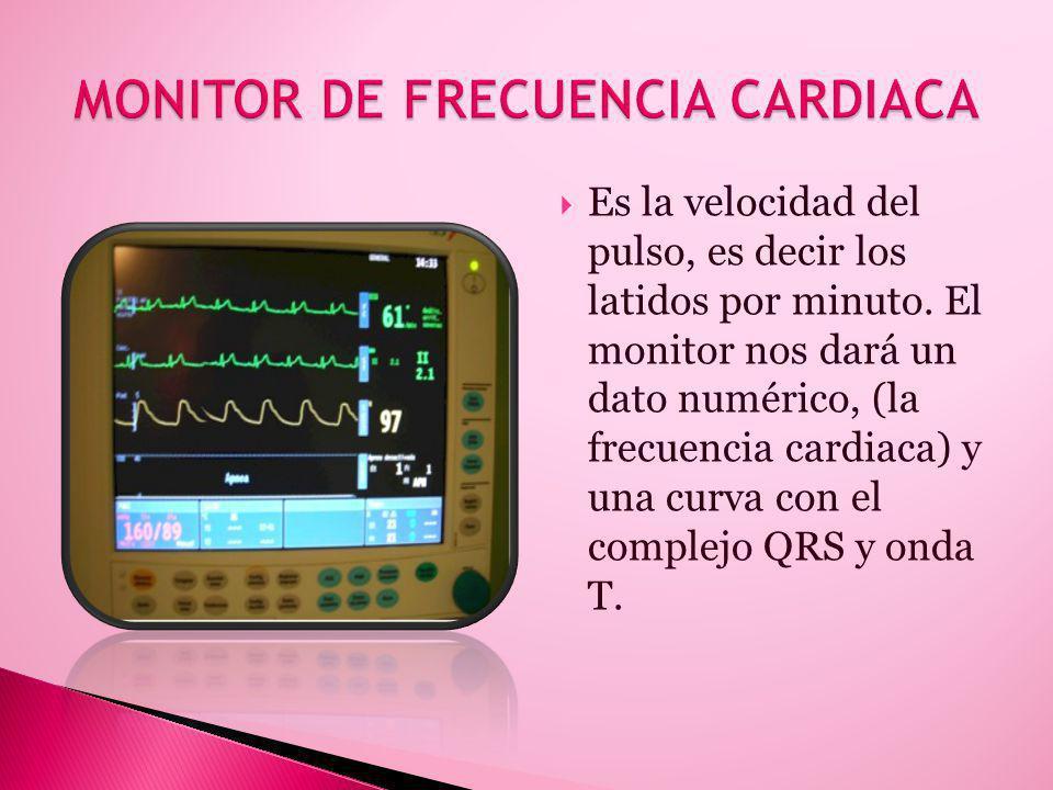 Es la velocidad del pulso, es decir los latidos por minuto. El monitor nos dará un dato numérico, (la frecuencia cardiaca) y una curva con el complejo