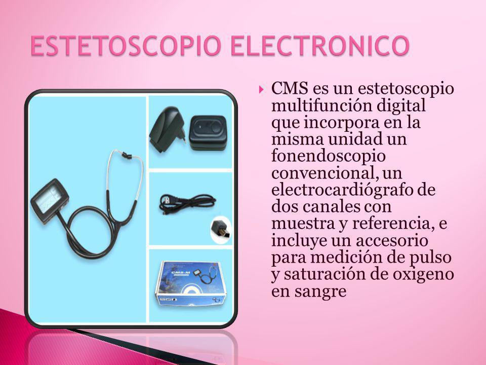 CMS es un estetoscopio multifunción digital que incorpora en la misma unidad un fonendoscopio convencional, un electrocardiógrafo de dos canales con muestra y referencia, e incluye un accesorio para medición de pulso y saturación de oxigeno en sangre