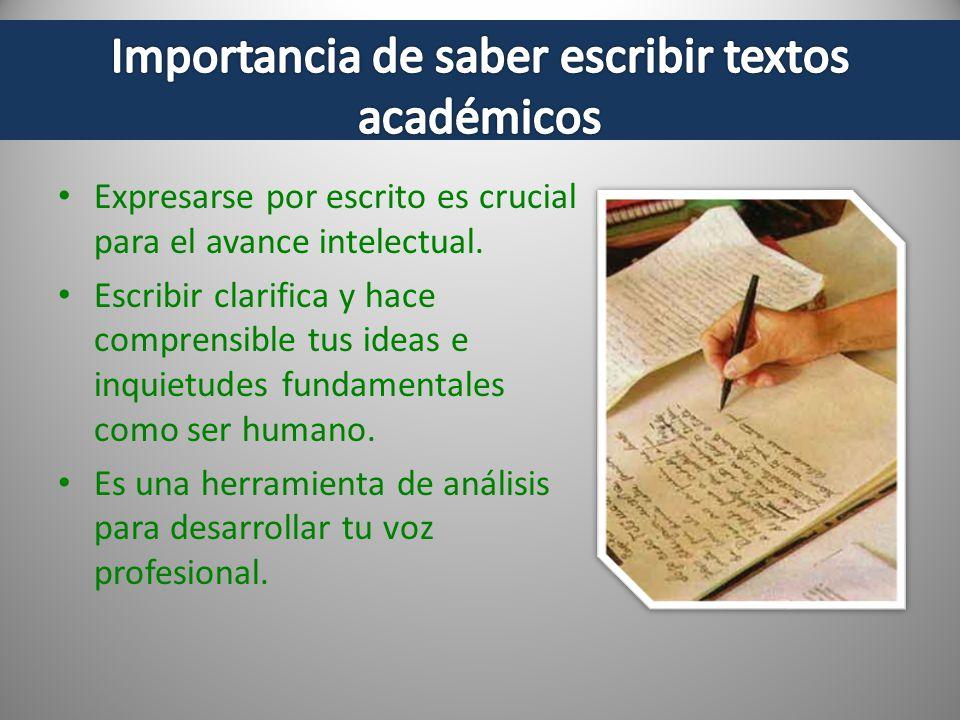 Expresarse por escrito es crucial para el avance intelectual. Escribir clarifica y hace comprensible tus ideas e inquietudes fundamentales como ser hu