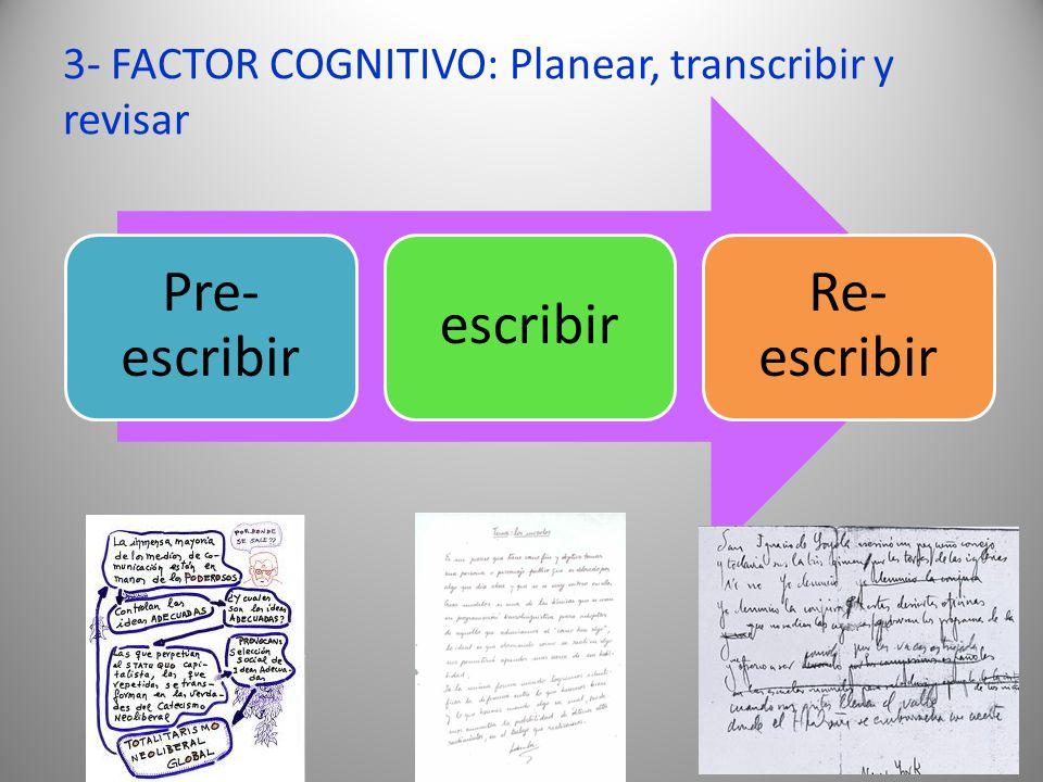 3- FACTOR COGNITIVO: Planear, transcribir y revisar Pre- escribir escribir Re- escribir