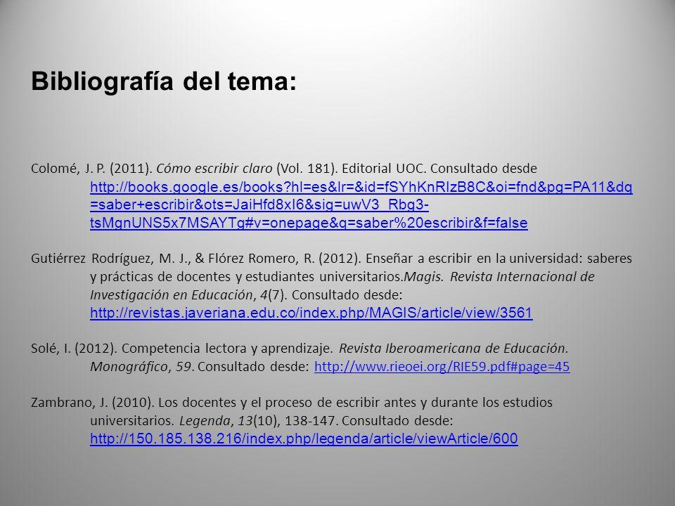 Bibliografía del tema: Colomé, J. P. (2011). Cómo escribir claro (Vol. 181). Editorial UOC. Consultado desde http://books.google.es/books?hl=es&lr=&id