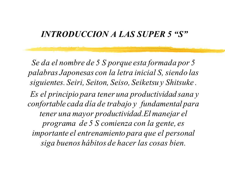INTRODUCCION A LAS SUPER 5 S Se da el nombre de 5 S porque esta formada por 5 palabras Japonesas con la letra inicial S, siendo las siguientes. Seiri,