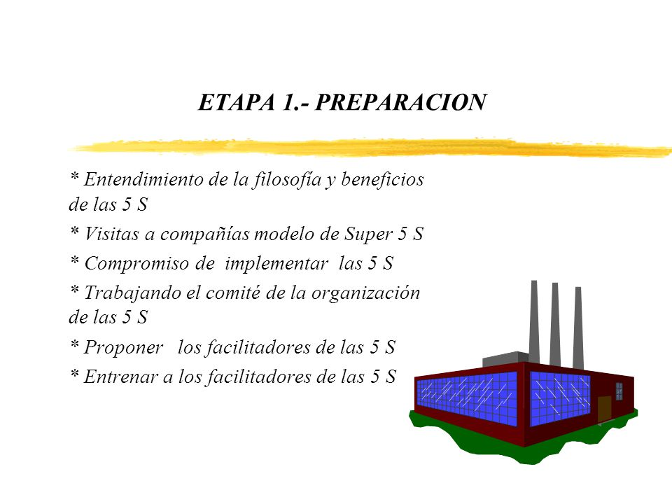 ETAPA 1.- PREPARACION * Entendimiento de la filosofía y beneficios de las 5 S * Visitas a compañías modelo de Super 5 S * Compromiso de implementar la