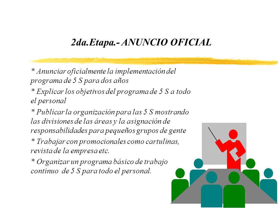 2da.Etapa.- ANUNCIO OFICIAL * Anunciar oficialmente la implementación del programa de 5 S para dos años * Explicar los objetivos del programa de 5 S a