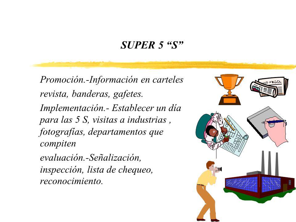 SUPER 5 S Promoción.-Información en carteles revista, banderas, gafetes. Implementación.- Establecer un día para las 5 S, visitas a industrias, fotogr
