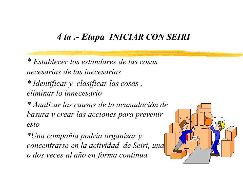 4 ta.- Etapa INICIAR CON SEIRI * Establecer los estándares de las cosas necesarias de las inecesarias * Identificar y clasificar las cosas, eliminar l