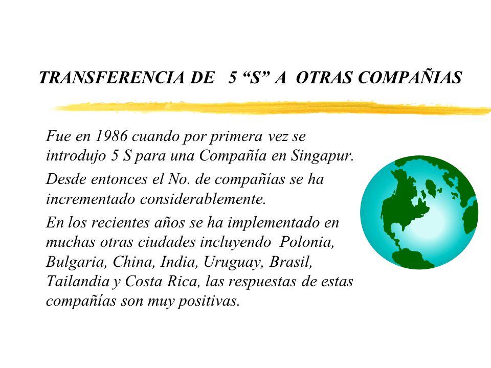 TRANSFERENCIA DE 5 S A OTRAS COMPAÑIAS Fue en 1986 cuando por primera vez se introdujo 5 S para una Compañía en Singapur. Desde entonces el No. de com