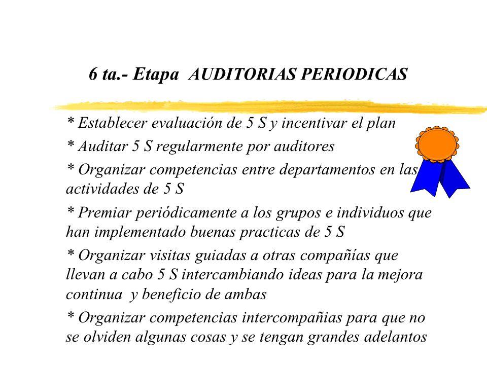 6 ta.- Etapa AUDITORIAS PERIODICAS * Establecer evaluación de 5 S y incentivar el plan * Auditar 5 S regularmente por auditores * Organizar competenci