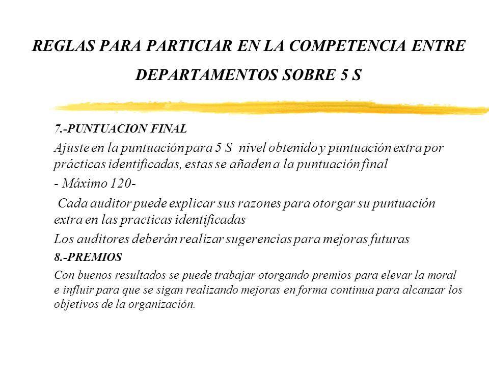 REGLAS PARA PARTICIAR EN LA COMPETENCIA ENTRE DEPARTAMENTOS SOBRE 5 S 7.-PUNTUACION FINAL Ajuste en la puntuación para 5 S nivel obtenido y puntuación