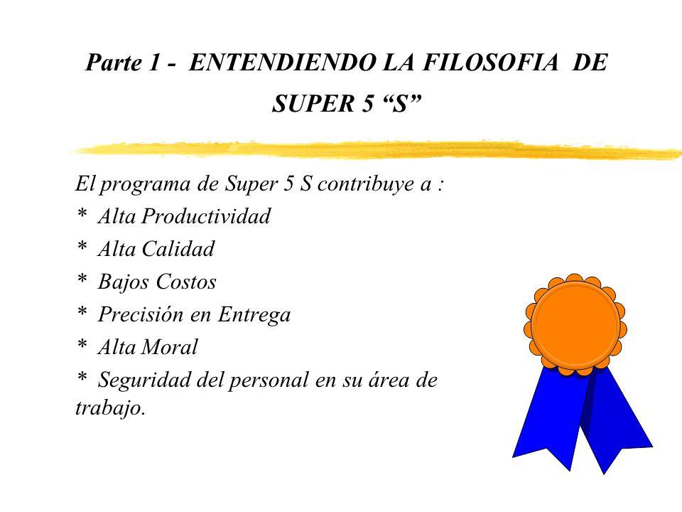 Parte 1 - ENTENDIENDO LA FILOSOFIA DE SUPER 5 S El programa de Super 5 S contribuye a : * Alta Productividad * Alta Calidad * Bajos Costos * Precisión