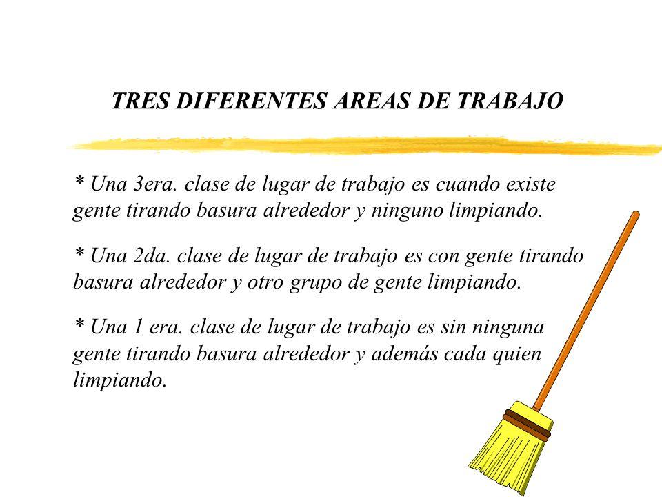 TRES DIFERENTES AREAS DE TRABAJO * Una 3era. clase de lugar de trabajo es cuando existe gente tirando basura alrededor y ninguno limpiando. * Una 2da.