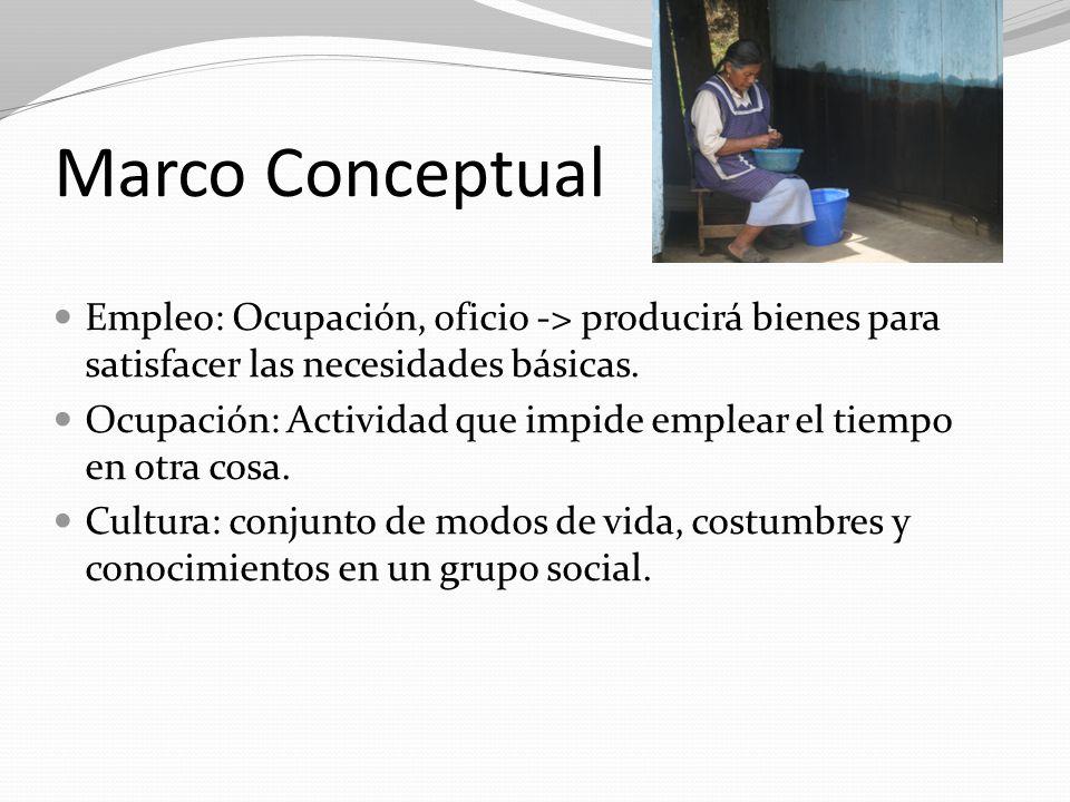 Marco Conceptual Empleo: Ocupación, oficio -> producirá bienes para satisfacer las necesidades básicas. Ocupación: Actividad que impide emplear el tie