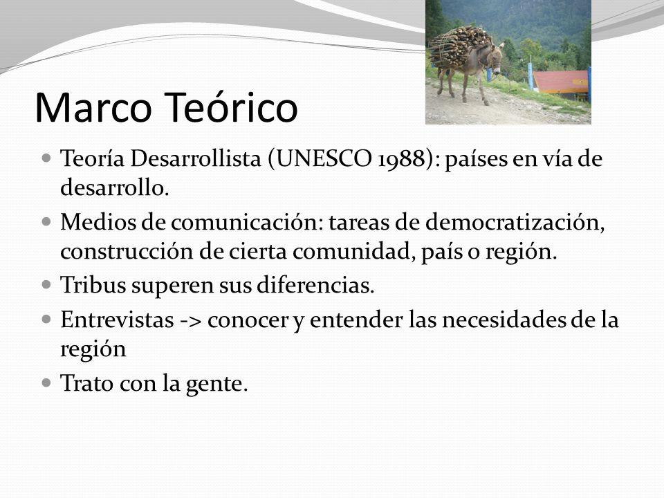 Marco Teórico Teoría Desarrollista (UNESCO 1988): países en vía de desarrollo. Medios de comunicación: tareas de democratización, construcción de cier