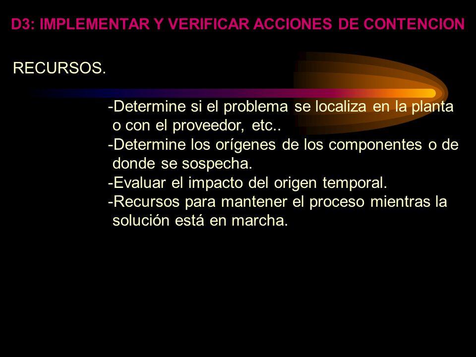 D3: IMPLEMENTAR Y VERIFICAR ACCIONES DE CONTENCION -Especifique frecuencias de inspección. -Determine y especifique ejemplos de frecuencia. -Concuerde