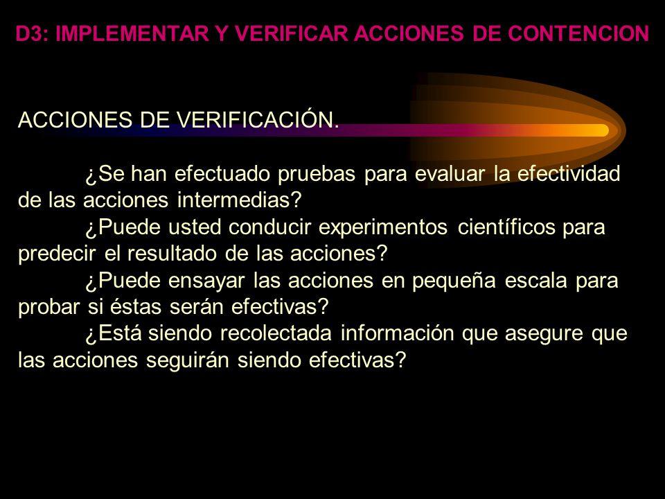 D3: IMPLEMENTAR Y VERIFICAR ACCIONES DE CONTENCION RECURSOS. -Determine si el problema se localiza en la planta o con el proveedor, etc.. -Determine l