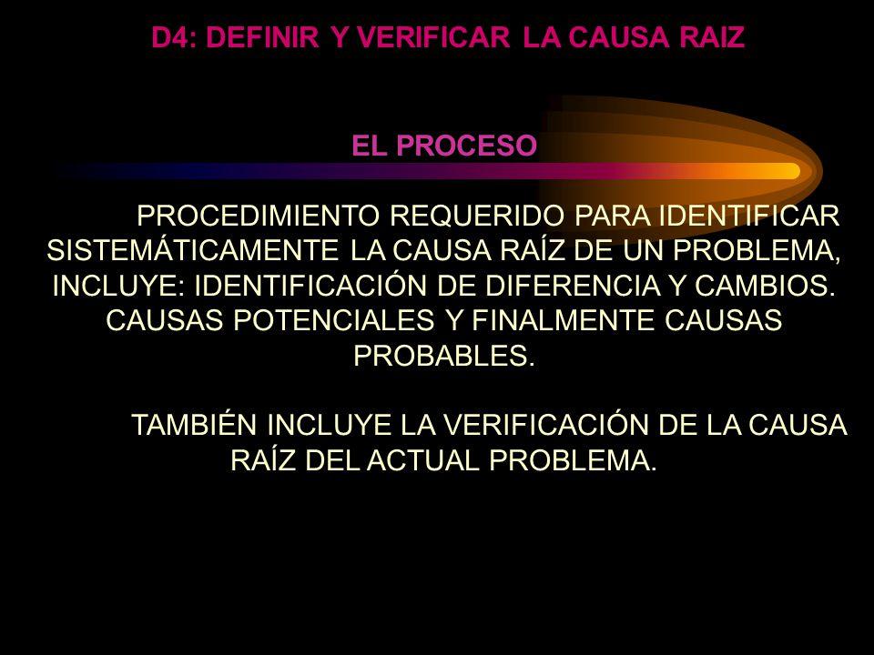 D4: DEFINIR Y V ERIFICAR LA CAUSA RAIZ Pregunte por que una y otra y otra y otra vez. Obtener la causa de un problema es realmente analizar el problem