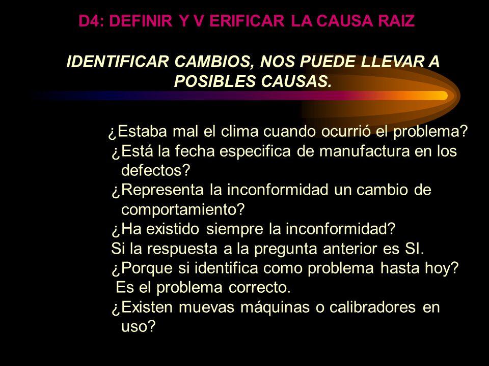 IDENTIFICAR DIFERENCIAS El buscar diferencias es porque ellas guían a la identificación de cambios específicos los cuales deben haber causado el probl