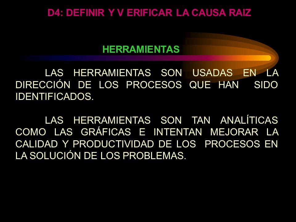 D4: DEFINIR Y V ERIFICAR LA CAUSA RAIZ IDENTIFICAR LA CAUSA MÁS PROBABLE (PRUEBA EN EN PAPELES) KEPNER-TREGOE. Prueba cada causa con respecto a la esp