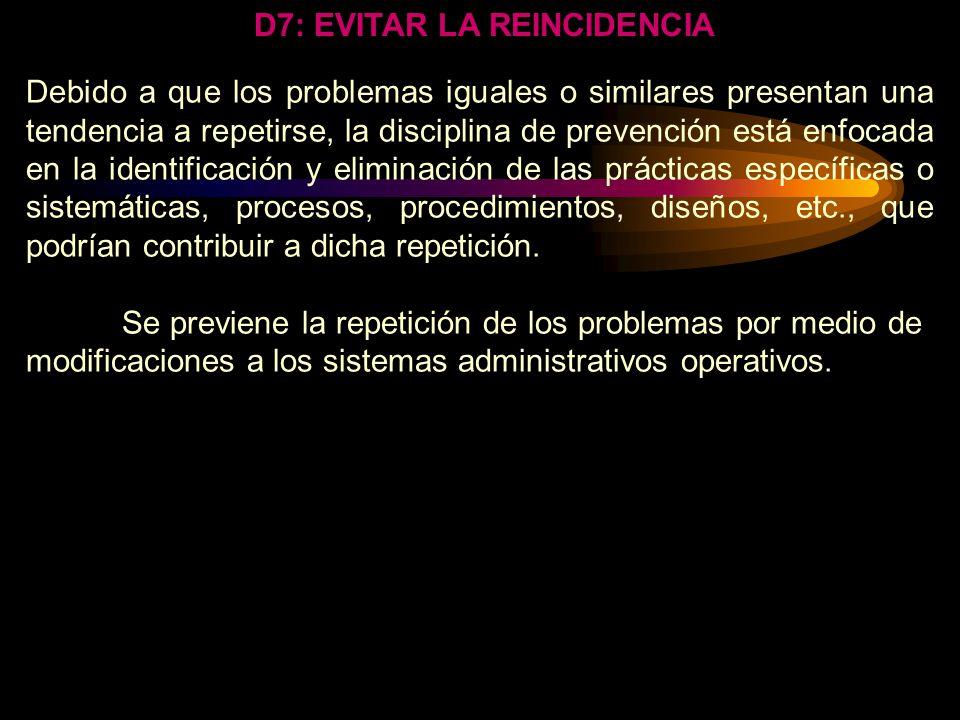 DISCIPLINA: EL PREVENIR LA REPETICIÓN DE LOS PROBLEMAS SIGNIFICA CAMBIO. SIGNIFICA CAMBIO A LA PARTE, AL PROCESO, O EL SISTEMA QUE PERMITIÓ QUE OCURRI