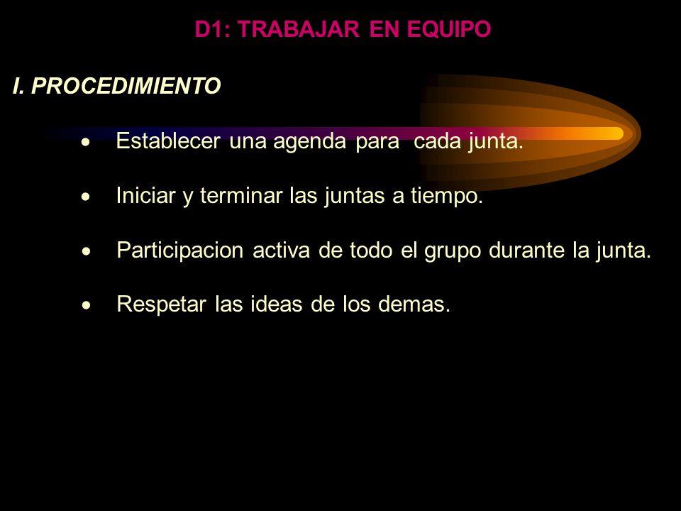 D1: TRABAJAR EN EQUIPO La selección actual de un grupo, generalmente no requiere de un procedimiento analítico. Sin embargo si es necesario evaluar la