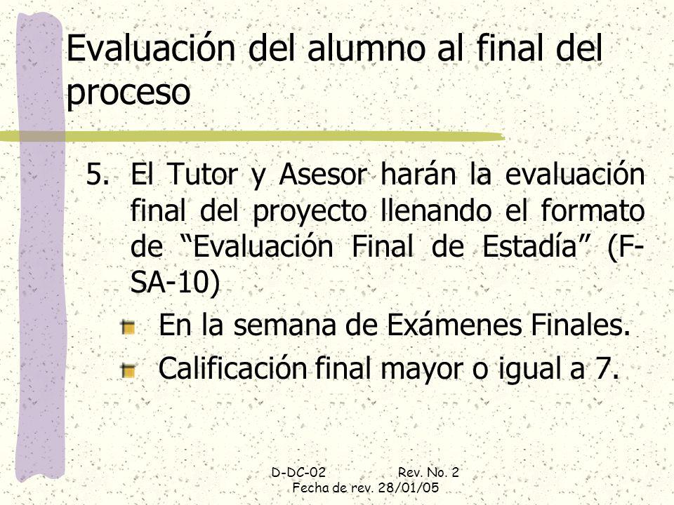 D-DC-02 Rev. No. 2 Fecha de rev. 28/01/05 Evaluación del alumno al final del proceso 5.El Tutor y Asesor harán la evaluación final del proyecto llenan