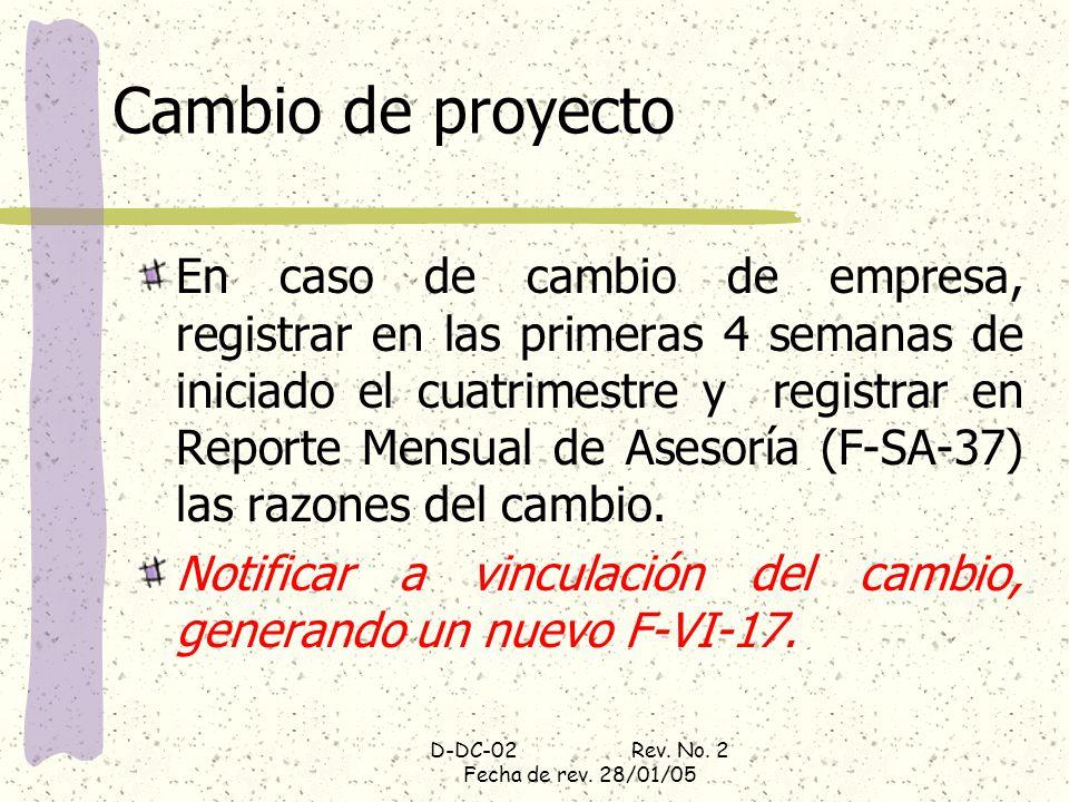 D-DC-02 Rev. No. 2 Fecha de rev. 28/01/05 Cambio de proyecto En caso de cambio de empresa, registrar en las primeras 4 semanas de iniciado el cuatrime