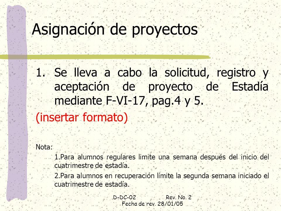 D-DC-02 Rev. No. 2 Fecha de rev. 28/01/05 Asignación de proyectos 1.Se lleva a cabo la solicitud, registro y aceptación de proyecto de Estadía mediant