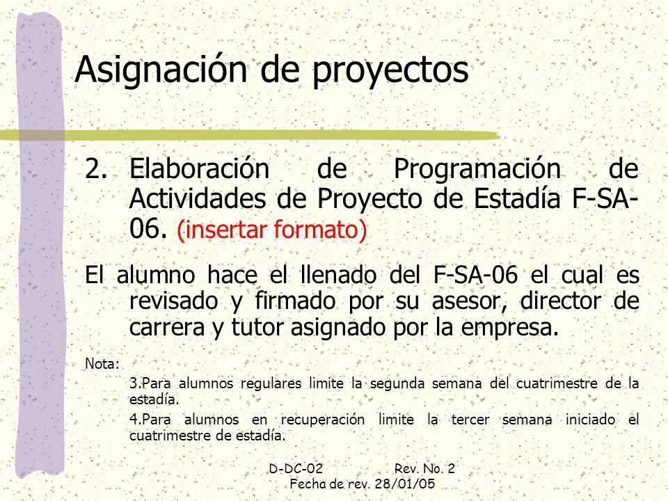 D-DC-02 Rev. No. 2 Fecha de rev. 28/01/05 Asignación de proyectos 2.Elaboración de Programación de Actividades de Proyecto de Estadía F-SA- 06. (inser