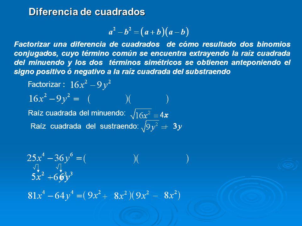 Factorizar : Factorizar una diferencia de cuadrados de cómo resultado dos binomios conjugados, cuyo término común se encuentra extrayendo la raíz cuad