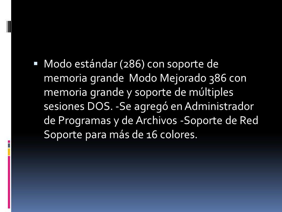 Modo estándar (286) con soporte de memoria grande Modo Mejorado 386 con memoria grande y soporte de múltiples sesiones DOS. -Se agregó en Administrado