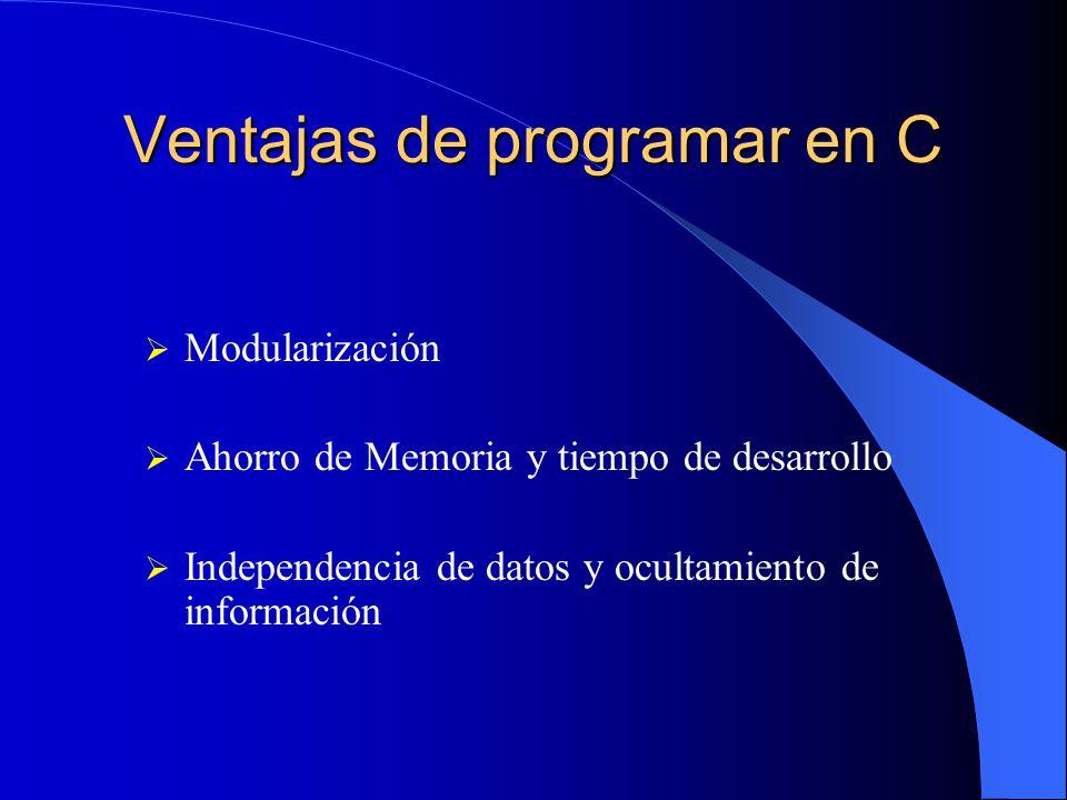 Ventajas de programar en C Modularización Ahorro de Memoria y tiempo de desarrollo Independencia de datos y ocultamiento de información