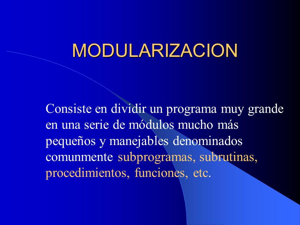MODULARIZACION Consiste en dividir un programa muy grande en una serie de módulos mucho más pequeños y manejables denominados comunmente subprogramas,